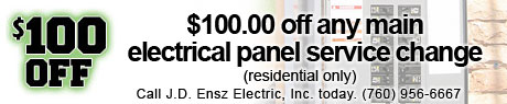 $100.00 off any main electrical panel service charge.