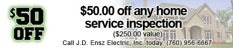 $50.00 off any home service inspection.
